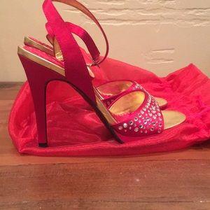 Betsey Johnson red rhinestone heels
